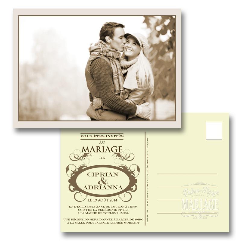 mariage carte postale. Black Bedroom Furniture Sets. Home Design Ideas