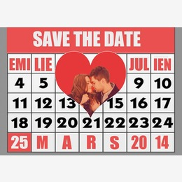Save The Date calendrier coeur