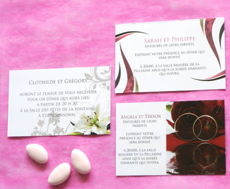 Collections des cartes d'invitations